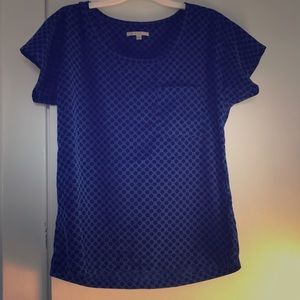 Blue and Black Polka Dotted Blouse